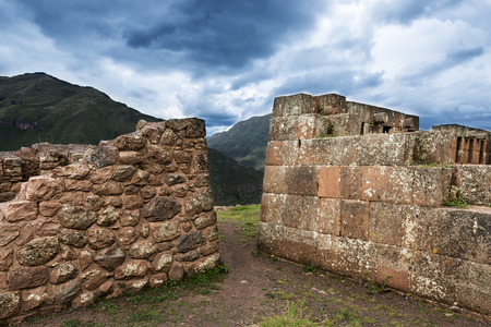 sacred valley: Inca masonry detail of walls at Pisac, in the Sacred Valley, Peru