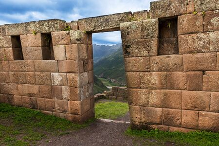 sacred valley: Inca masonry detail of wall and door at Pisac, in the Sacred Valley, Peru