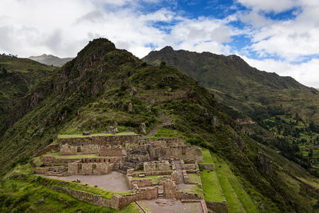 sacred valley: View of Inca Ruins near the town of Pisac in the Sacred Valley, Peru Stock Photo