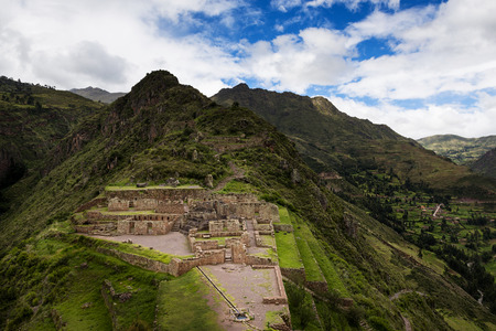 inca: View of Inca Ruins near the town of Pisac in the Sacred Valley, Peru Stock Photo