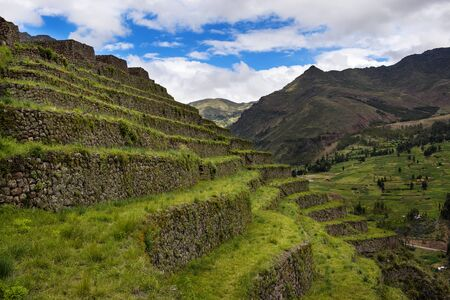 Old Inca buit terraces near the ruins of Pisac, in the Sacred Valley, Peru