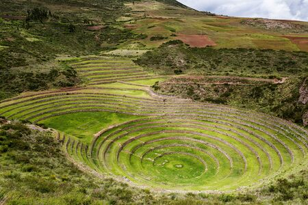 sacred valley: Inca circular terraces in Moray, in the Sacred Valley, Peru. Moray is an archeological site, close to the village of Maras. The ruins consist on several terraded circular depressions and irrigation systems.