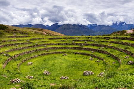 sacred valley: Inca circular terraces in Moray, in the Sacred Valley, Peru. Stock Photo
