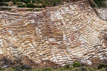 sacred valley: View of the Maras Salt Mines near the village of Maras, Sacred Valley, Peru Stock Photo