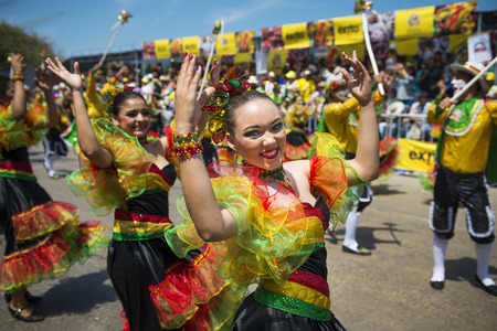 Barranquilla, Colombia - March 1, 2014: People at the carnival parades in the Carnival of Barranquilla, in Colombia. Editöryel