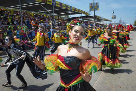 Barranquilla, Colombia - March 1, 2014: People at the carnival parades in the Carnival of Barranquilla, in Colombia. Редакционное