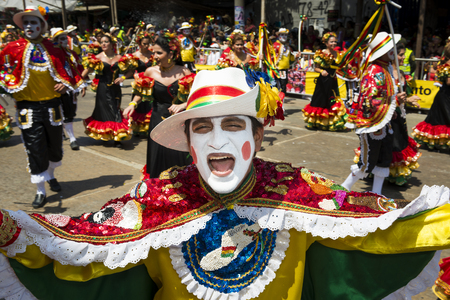 Barranquilla, Colombia - March 1, 2014: People at the carnival parades in the Carnival of Barranquilla, in Colombia. 報道画像