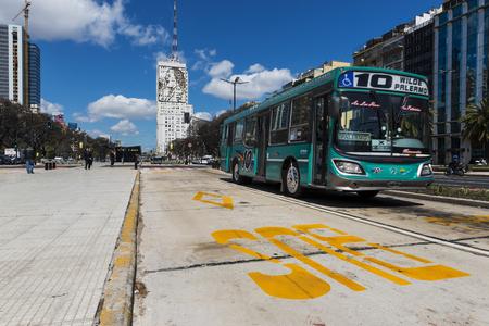 Buenos Aires, Argentina - October 4, 2013: A public bus at the 9 de Julio Avenue in Buenos Aires, Argentina.