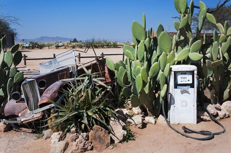 abandoned car: An abandoned gas pump and old car in Solitaire, Namibia