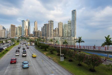 panama city: Panama City, Panama - March 18, 2014: View of the financial district and sea in Panama City, Panama. Editorial
