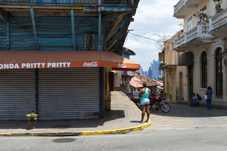 panama city: Panama City, Panama - March 16, 2014: People in a street in Casco Viejo, in Panama City, Panama. Casco Viejo is the historic district of Panama City Editorial