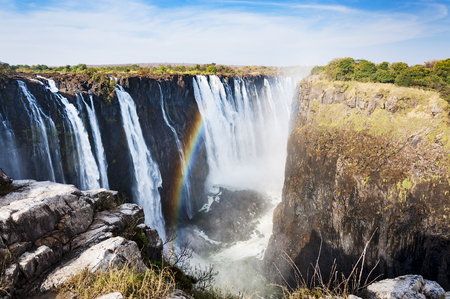 View of the Victoria Falls in Zimbabwe, Africa; Concept for travel in Africa Stock Photo