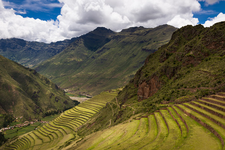 Inca ruins in Pisac, near Cuzco, in Peru. Pisac is located in the Sacred Valley. Concept for travel in South America