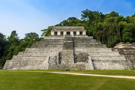 funerary: View of the Temple of Inscriptions in the ancient Mayan city of Palenque, Chiapas, Mexico