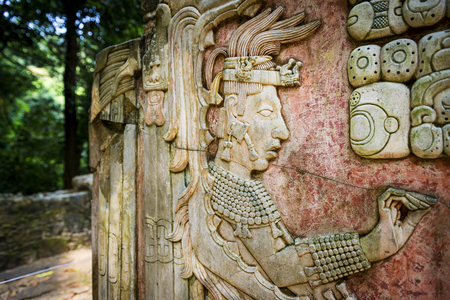 Detail of a bas-relief carving in the ancient Mayan city of Palenque, Chiapas, Mexico