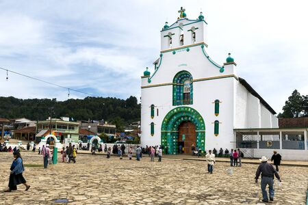 third world: San Juan Chamula - May 11, 2014: Local people in front of the Church of San Juan in the town of San Juan Chamula, Chiapas, Mexico