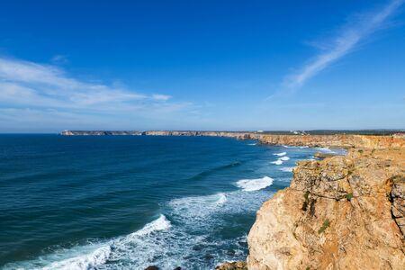 cosa: View of Saint Vincent Cape (Cabo de Sao Vincente) in Sagres, Algarve, Portugal; Concept for travel in Portugal