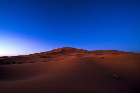 View of the dunes at night in Erg Chebbi near Merzouga in Morocco