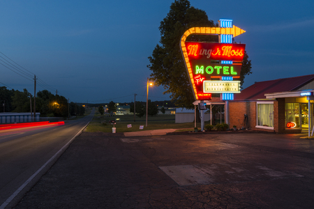 Lebanon, Missouri, USA - July 7, 2014: View of the Munger Moss Motel at night along the Route 66 in Labanon, Missouri, USA