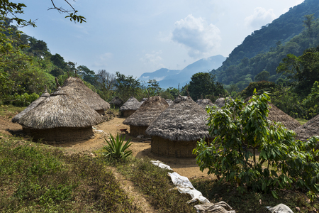 Kogi village in the forest in the Sierra Nevada de Santa Marta in Colombia Фото со стока