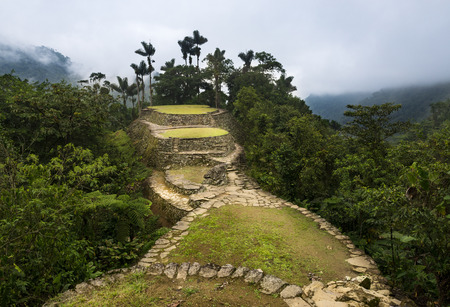 The Lost City (Ciudad Perdida) ruins in the Sierra Nevada de Santa Marta, Colombia Фото со стока