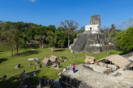 Tikal, Guatemala - May 6, 2014: People in the ancient Maya City of Tikal in Guatemala, Central America