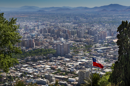 Panoramic view of the city of Santiago de Chile from the San Cristobal Hill (Cerroo San Cristobal) in Chile, South America