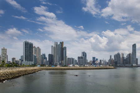 the americas: View of the downtown of Panama City with modern buildings on the background, in Panama. Stock Photo