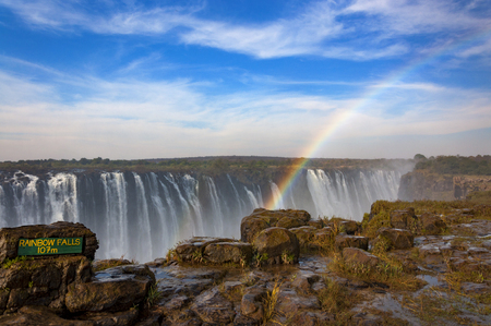 The Rainbow Falls in Victoria Falls, Zimbabwe, Africa; Concept for travel in Africa