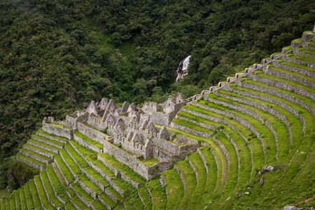 ancient civilisations: The Inca ruins of Winay Wayna along the Inca Trail to Machu Picchu in Peru; Concept for travel in Peru