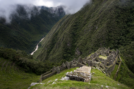 ancient civilisations: The Inca ruins of Winay Wayna and the surrounding valley, along the Inca Trail to Machu Picchu in Peru; Concept for travel in Peru