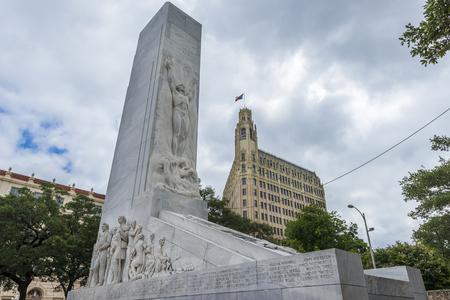 San Antonio, Texas - June 5, 2014: The Alamo Cenotaph monument in the city of San Antonio in Texas, USA