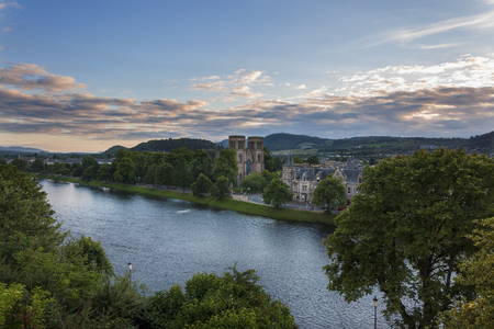 Inverness, Scotland - August 14, 2010: View of the city of Inverness from the banks of the Ness River in Scotland, United Kingdom