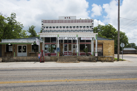 Hye, Texas - June 8, 2014: View of the general store and post office in the small town of Hye in Texas, USA. Editorial
