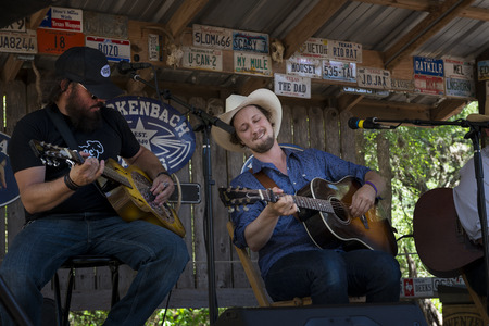 Luckenbach, Texas - June 8, 2014: Band playing country music in Luckenbach, Texas, USA.