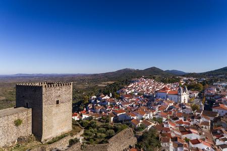Aerial view of the Castelo de Vide castle and village in Alentejo, Portugal; Concept for travel in Portugal