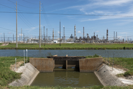 View of an oil refinery in Southern Texas, United States; Concept for industrial pollution, fossil fuel and global warming