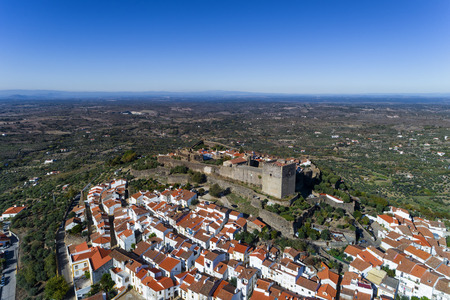 Aerial view of the Castelo de Vide village in Alentejo, Portugal; Concept for travel in Portugal and most beautiful places in Portugal Stock Photo