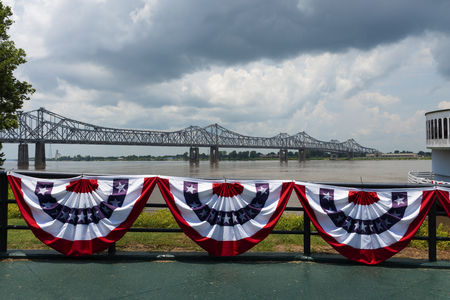 View of the bridge over the Mississippi River near the city of Natchez, Mississippi, USA; Concept for travel in the USA and travel along the Mississippi River