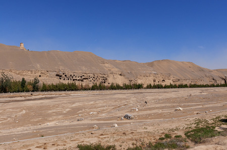 View of the Mogao Caves near the city of Dunhuang, in the Gansu Province, China.