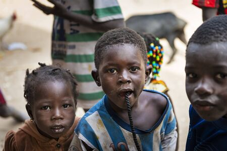 Orango Island, Guinea-Bissau - February 3, 2018:  Group of children at the village of Eticoga in the island of Orango.