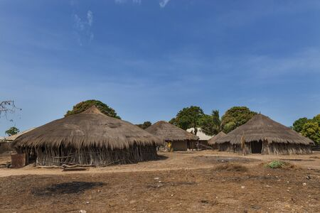 Orango Island, Guinea-Bissau - February 3, 2018:  View of the village of Eticoga in the island of Orango with traditional huts.