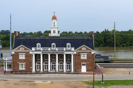 Vicksburg, USA - June 22, 2014: View of the Mississippi Valley and Yazoo Railroad Depot in Vicksburg, Mississippi, USA