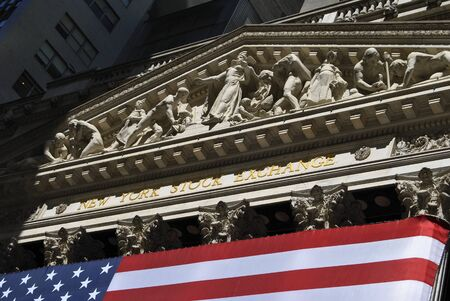 New York City, USA - June 7, 2010: Detail of hhe facede of the New York Stock Exchange in Wall Street, New York City. 에디토리얼