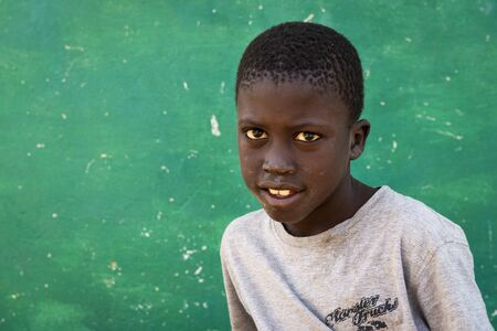Orango Island, Guinea-Bissau - February 3, 2018:  Portrait of a young boy at the village of Eticoga in the island of Orango.