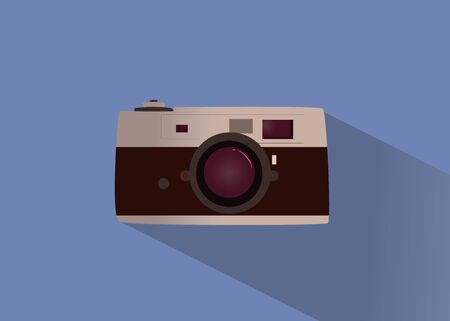 vintage camera on isolated layout, style flat