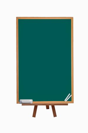 chalk eraser: green chalkboard with chalk and eraser lectern with blank space Stock Photo