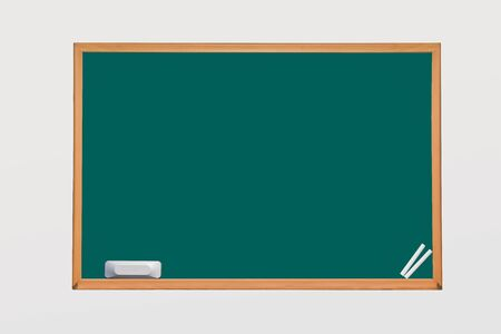 chalk eraser: green horizontal chalkboard with chalk and eraser on white space isolated