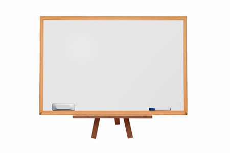 whiteboard with marker and eraser on white space isolated