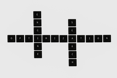 SEO crossword text keyboard on isolated background